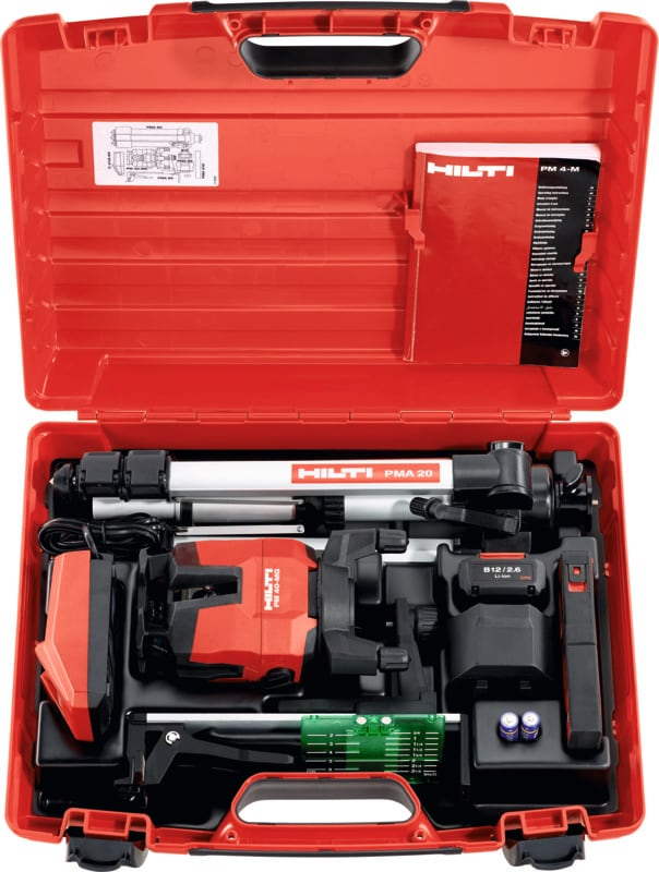 Hilti PM 40-MG multi-line laser with all accessories in a tool case