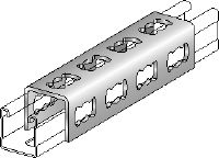 MQV Galvanized flexible channel connector used as a longitudinal extender for MQ strut channels