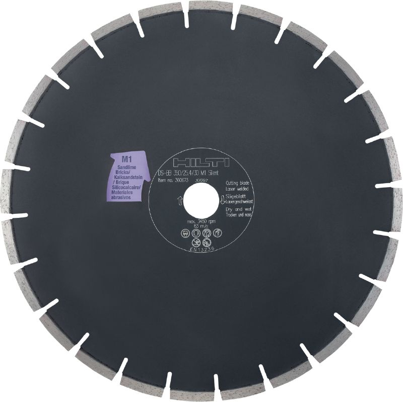 Silent bench saw blade M1 Premium diamond silent blade reduces noise by up to 50% – designed for cutting masonry and sand-lime blocks